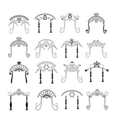 Set vintage graphic chuppah jewish wedding canopy vector