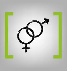 Sex symbol sign black scribble icon in vector