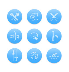 Sports and games line icons on blue round shapes vector