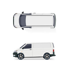 The cargo minibus side view and top view vector