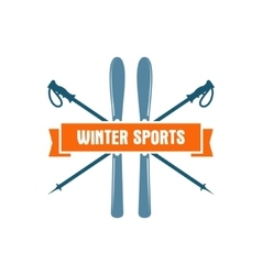 Winter sports label vintage mountain explorer vector