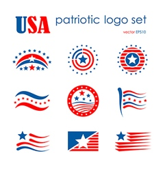 Usa patriotic emblem logo icon set flag signs vector
