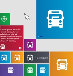 Bus icon sign buttons Modern interface website vector image