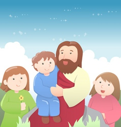 Jesus christ with kids cartoon vector