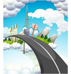A road going to the city vector