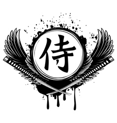 Hieroglyph samurai wings and crossed samurai vector image