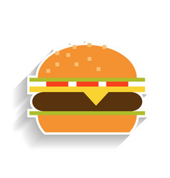 Sandwich with meat cheese tomatoes and lettuce vector