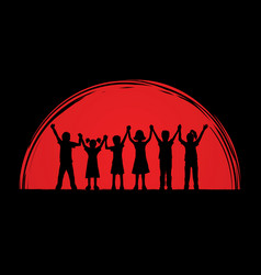 Group of children holding hands graphic vector