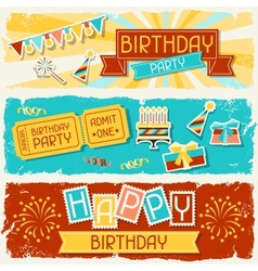 Happy birthday horizontal banners vector