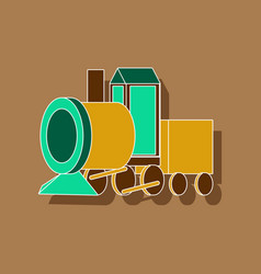 paper sticker on stylish background toy train vector image