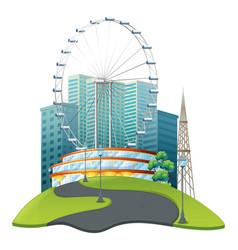 Big ferris wheel in big park vector