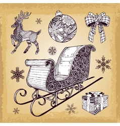 Hand drawn christmas sleight decoration doodles vector