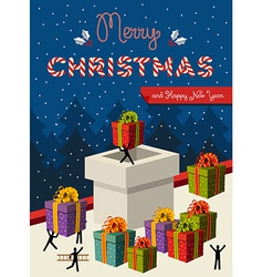 Christmas teamwork concept card design vector