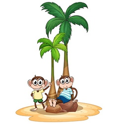 Monkey and tree vector