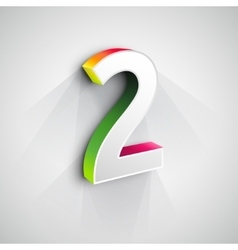 3d Number Two vector image