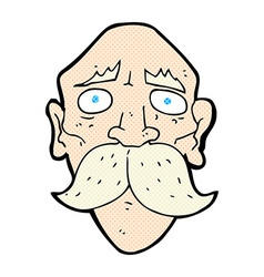 Comic cartoon sad old man vector