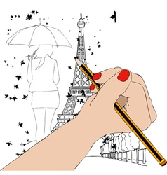 Paris in autumn vector