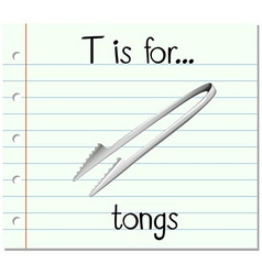 Flashcard letter t is for tongs vector