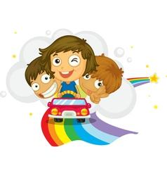 Kids driving vector image