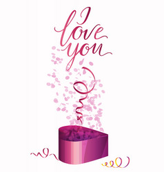 a gift box and inscription i love you vector image vector image