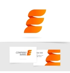 Abstract elegant orange letter E logo isolated on vector image vector image