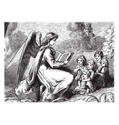 Angel reading to children rock vintage engraving vector