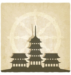Buddhist temple old background vector