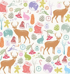 Card with Christmas deer vector image