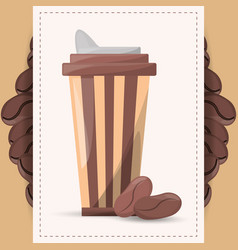 Coffee paper cup beans design vector