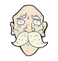 comic cartoon sad old man vector image vector image