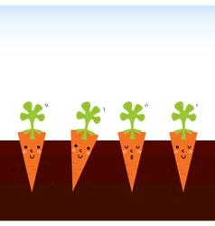 Cute beautiful cartoon Carrots in row vector image vector image
