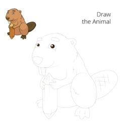 Draw the forest animal beaver cartoon vector