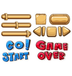 game buttons bars and arrows vector image