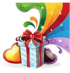 Gift box on rainbow background vector