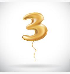 golden number three 3 metallic balloon metallic vector image
