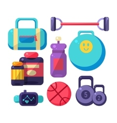 Gym inventory items set vector