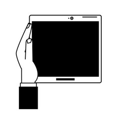hand holding tablet with blank screen icon image vector image