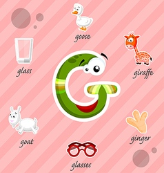 Letter g with words vector