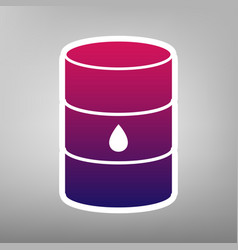 Oil barrel sign purple gradient icon on vector