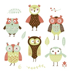owls flat style vector image