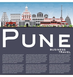 Pune skyline with color buildings blue sky vector