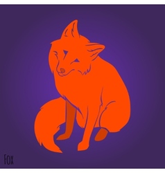 Red cute fox silhouette vector