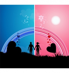 romantic walk vector image vector image