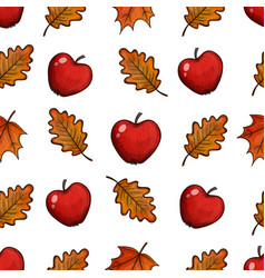 Seamless pattern with apples and leaves vector