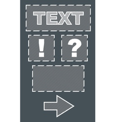 Set of frames and sign with text on grey backgroud vector image vector image