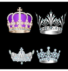 set of vintage crowns vector image vector image