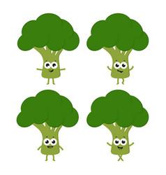 set with cartoon broccoli vector image