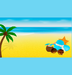 summer banner template with beach accessories and vector image