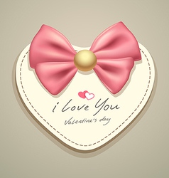 Valentines heart pink ribbons vector image vector image