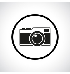 Vintage photo camera in a circle vector image